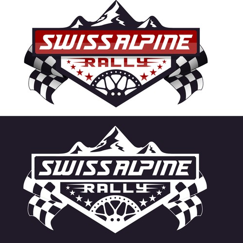 Rally logo with the title 'Swiss Alpine Rally'