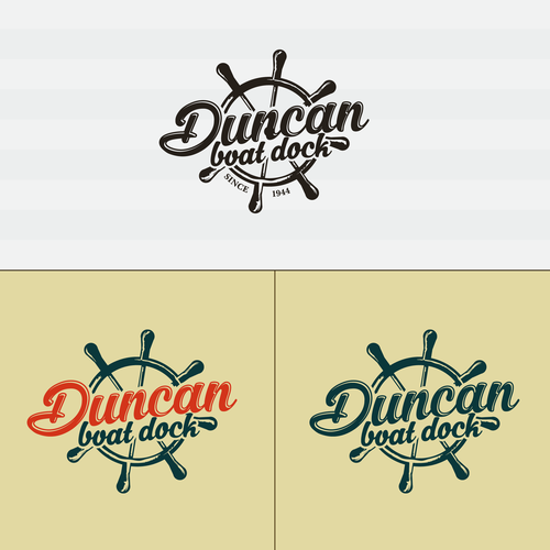 Dock design with the title 'Superb vintage emblem boat dock logo.'