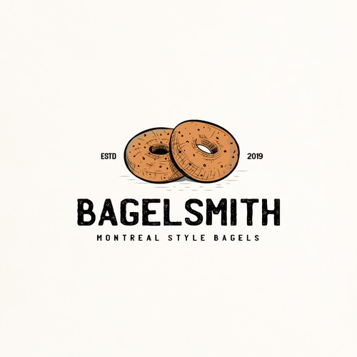 Breakfast logo with the title 'Montreal bagel shop needs eye catching logo'