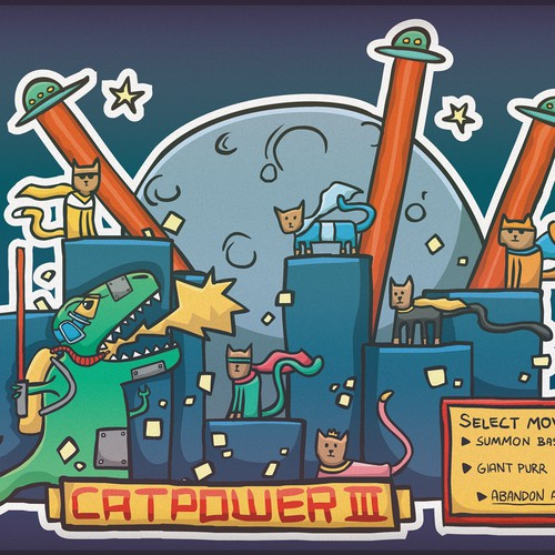 Alien design with the title 'Catpower III, laptopsticker'