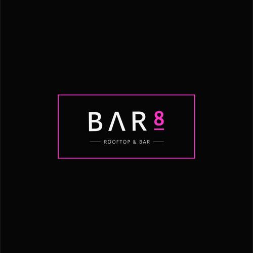Magenta design with the title 'Logo Concept | Bar8'