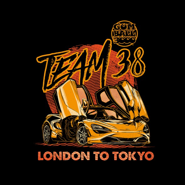 Racing t-shirt with the title 'Gumball 3000 Team 38'