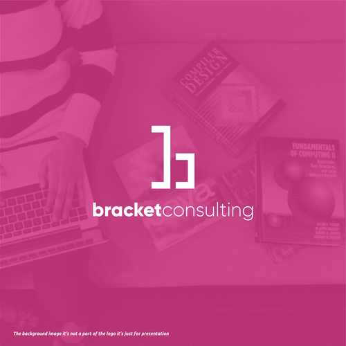 Pink logo with the title 'bracket consulting'