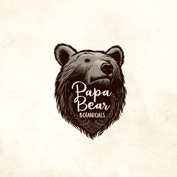 Essential oils logo with the title 'Papa Bear Botanicals'