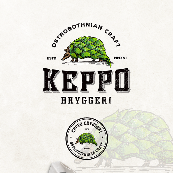 Armadillo design with the title 'Keppo bryggeri craft brewery'