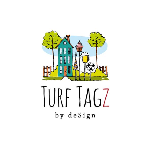Yard design with the title 'turf tagz'