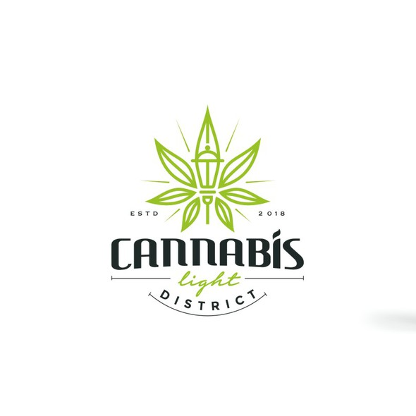 District design with the title 'Modern Line Art with a touch of classic logo for a Cannabis Light District'