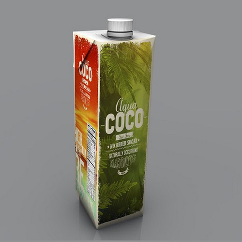 Coconut packaging with the title 'Aqua Coco'