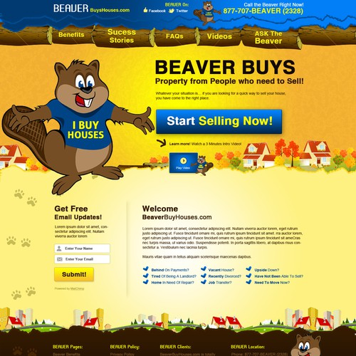 Interactive design with the title 'Website Design for BeaverBuysHouses.com'