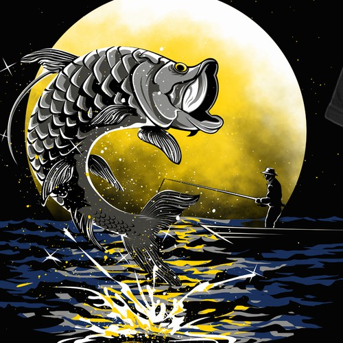 Ocean t-shirt with the title 'Show a Tarpon Fish Jumping Across a Full Moon Shirt'