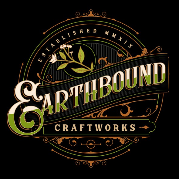 Black background logo with the title 'Earthbound Craftworks'