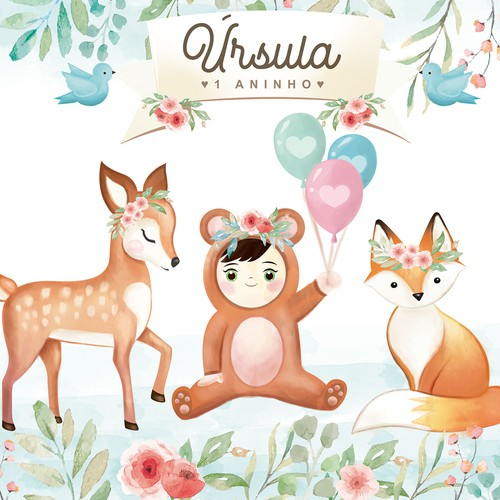 Animal illustration with the title 'Cute watercolor illustration for children's animal theme party'