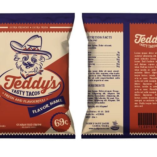 Taco logo with the title 'Logo and Packaging Design for Teddy's Tasty Tacos'
