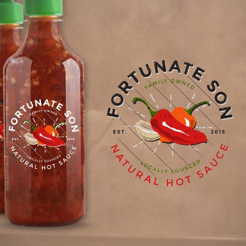 Chili pepper design with the title 'Fortunate Son Hot Sauce, a locally sourced, all natural, family owned company.'