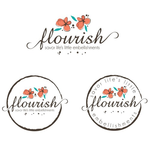 Pretty design with the title 'Feminine, flourish logo'
