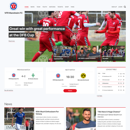 Club website with the title 'Soccer Club Website'
