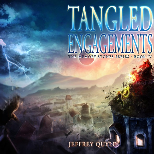 Epic fantasy book cover with the title 'Tangled Engagements - J. Quyle IV'