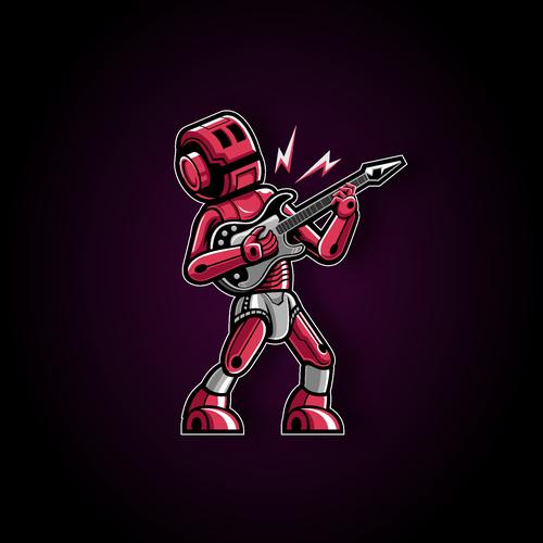 Guitarist logo with the title 'Robot Guitar Logo'