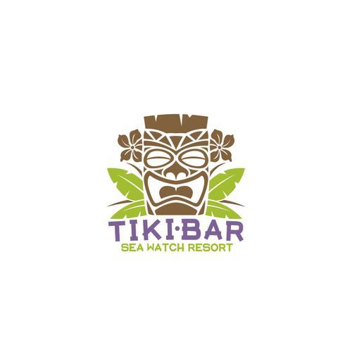 Tiki logo with the title 'Logo for an oceanfront tiki bar'