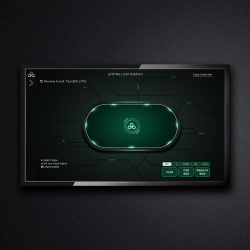 Futuristic illustration with the title 'modern table design for poker online game'