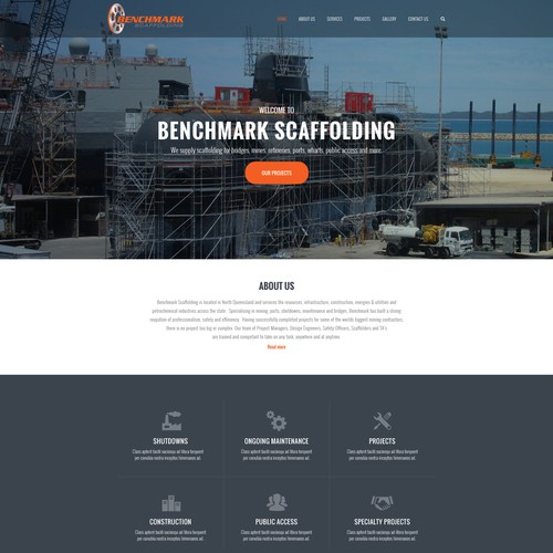Industry website with the title 'Benchmark Scaffolding'