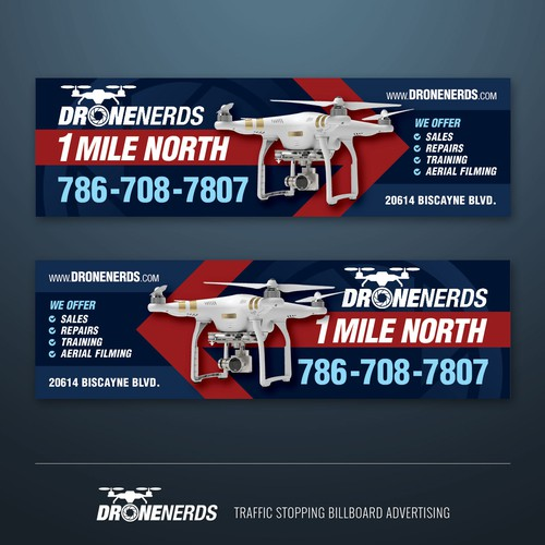 Flying design with the title 'traffic stopping billboard advertising for DRONENERDS'