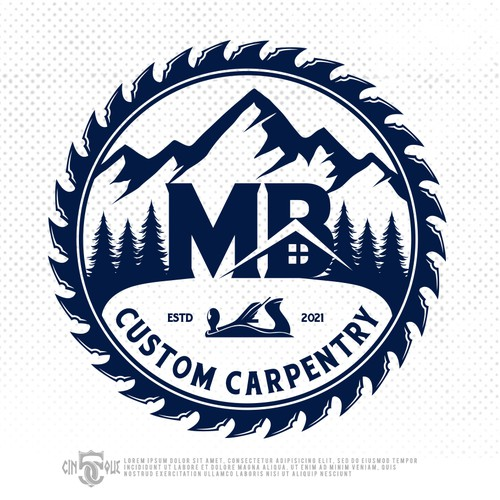 Tree and mountain logo with the title 'MB Custom Carpentry'