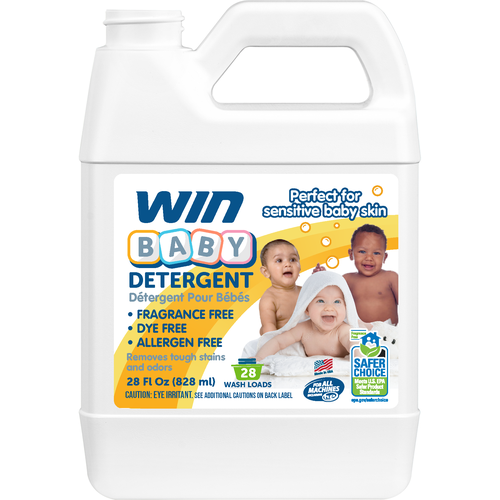 Baby packaging with the title 'Win Baby Detergent Label'