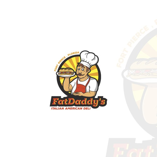 Apron logo with the title 'Inspiring nice logo for American-Italian fast food restaurant'