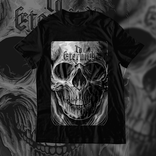Metal t-shirt with the title 't Edgy pop culture t-shirt design with skull and sword'