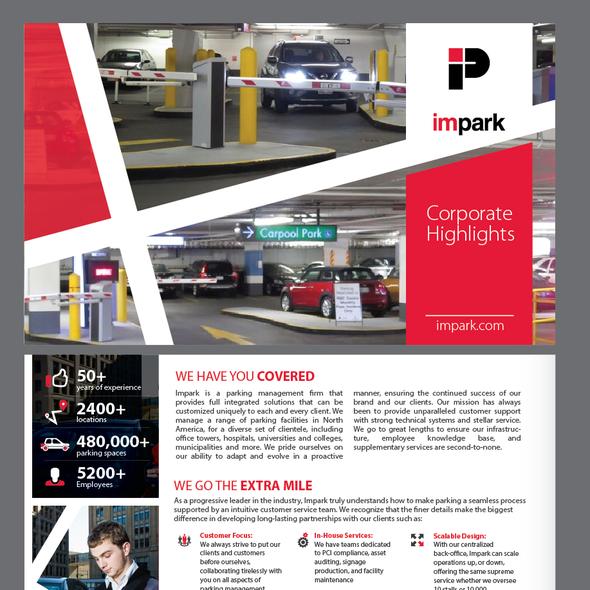 Parking design with the title 'Impark brochure design'