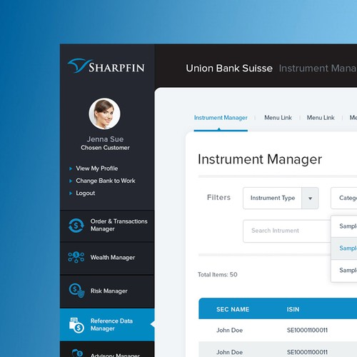 Blue and black design with the title 'Sharpfin'