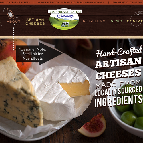 Food website with the title 'Cumberland Valley Creamery'