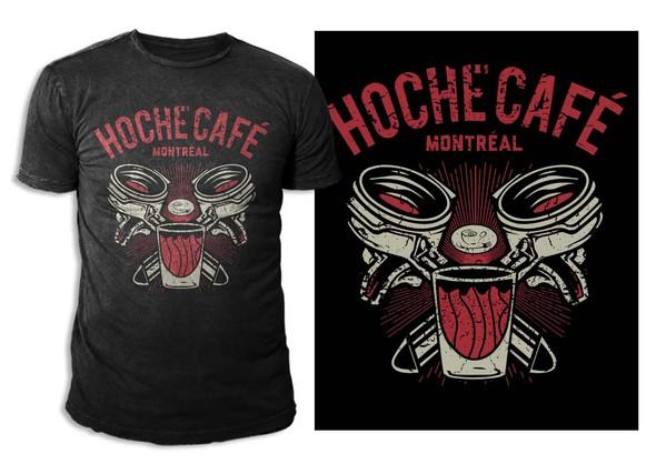 Two-color design with the title 'Create a unique t-shirt for Hoche Café in Montréal'