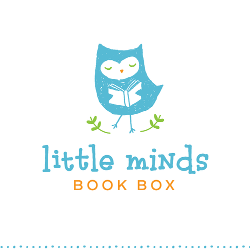 Owl logo with the title 'Design a fun, playful logo for a children's book subscription service'