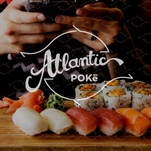 Atlantic design with the title 'Logo proposal for poke restaurant'