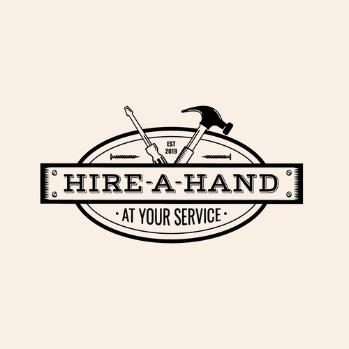 Handyman design with the title 'Logo for Hire A Hand'