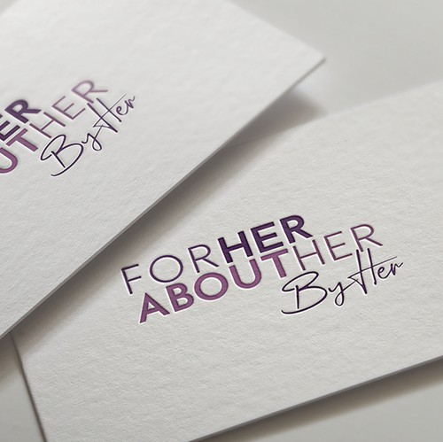 Woman brand with the title 'Logo For: Her About Her By Her'