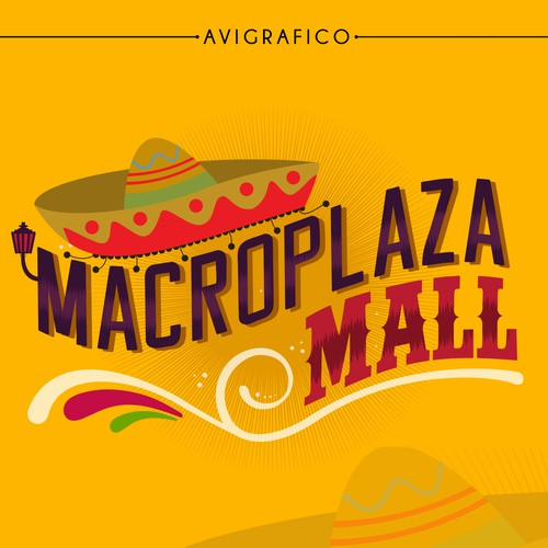 Pink and yellow logo with the title 'Logo design for a Mexican artisan shopping center'