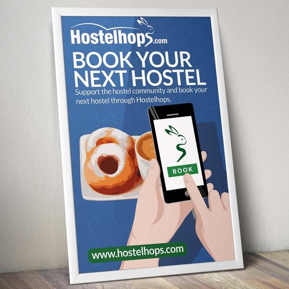 Hostel design with the title 'Hostelhops.com Poster'