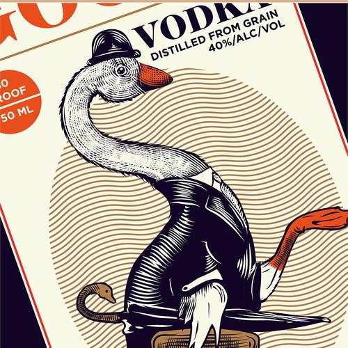 Vintage packaging with the title 'Vintage Vodka Label Design'
