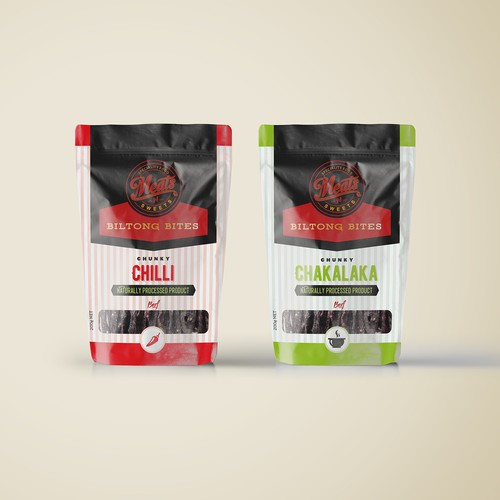 Pouch label with the title 'Packaging design for pouch Biltong bites '