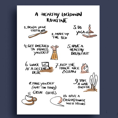 Tips design with the title '10 tips for a healthy lockdown routine'