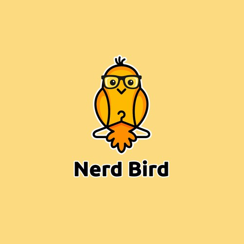 Nerd logo with the title 'Playful character logo design for kids clothing company.'