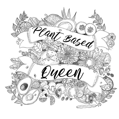 "Vegetarian t-shirt with the title '""Plant Based Queen"" T-Shirt Design'"