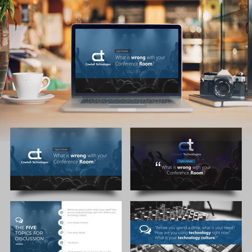 Presentation design with the title 'Compelling PowerPoint Template/Presentation for upcoming Customer Meeting'
