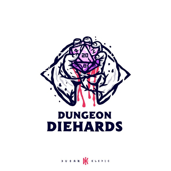 Blood logo with the title 'Dungeon Diehards'