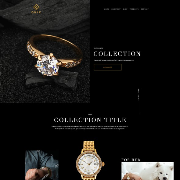 Jewelry website with the title 'Create the most luxurious website for ONYX'