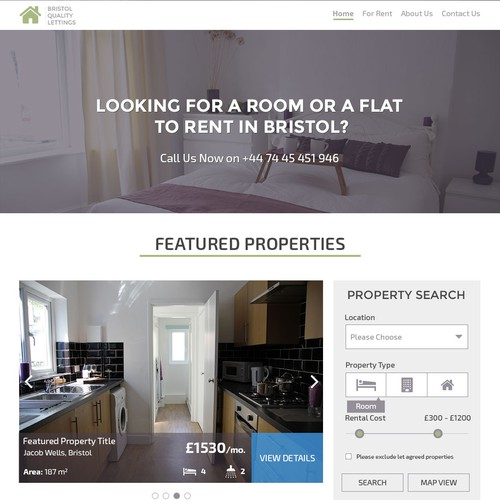 Purple website with the title 'New Website Design for Bristol Quality Lettings'