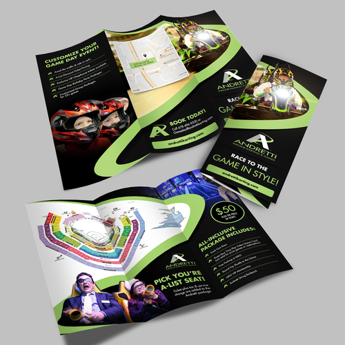 Tri-fold design with the title 'Andretti Indoor Karting & Games'